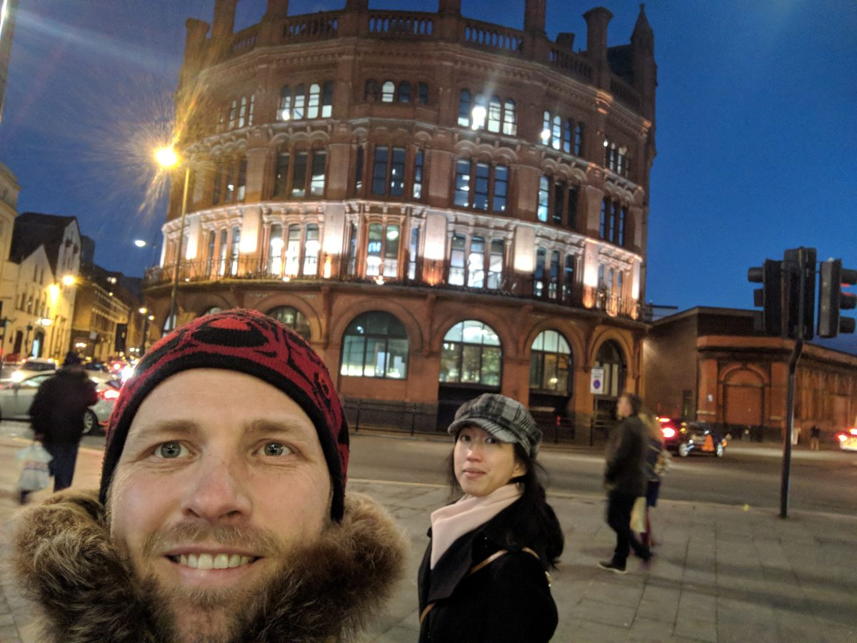 Craig Lambie in Liverpool at night, selfie